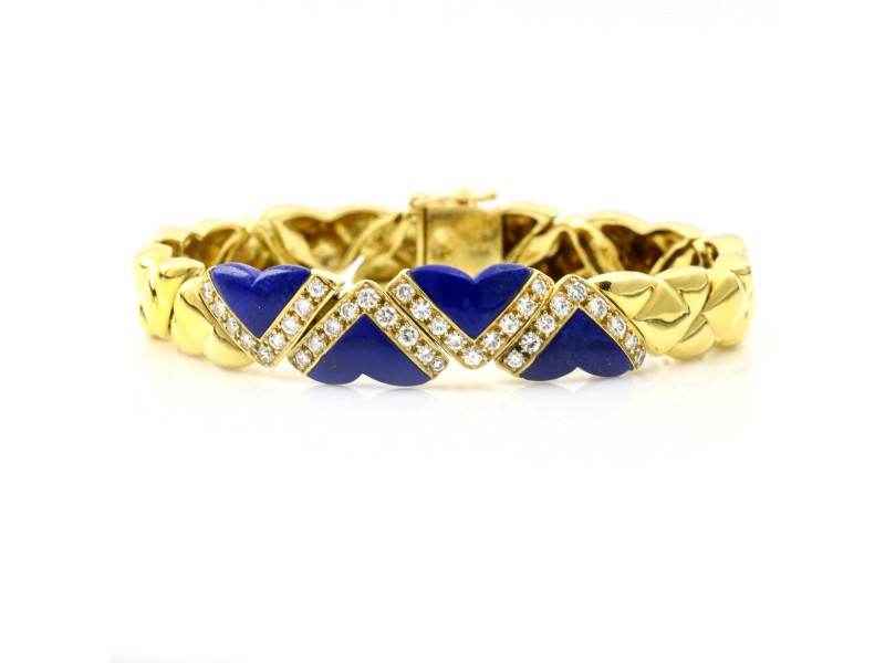 Fred of Paris 18k Yellow Gold Lapis Lazuli Diamond Heart Link Bracelet