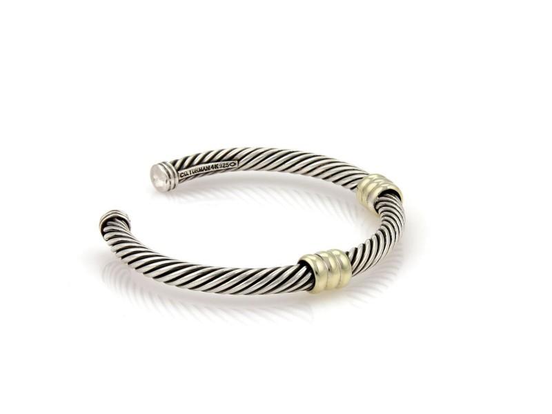 David Yurman Sterling 14k Yellow Gold Double Bar Cable Cuff Bangle Bracelet