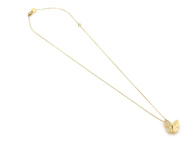 Salvini Diamond 18k Yellow Gold Butterfly Pendant & Chain Necklace