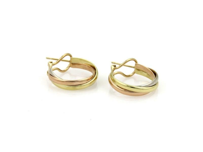 Cartier Trinity 18k Tri-Color Gold Interlaced Hoop Earrings