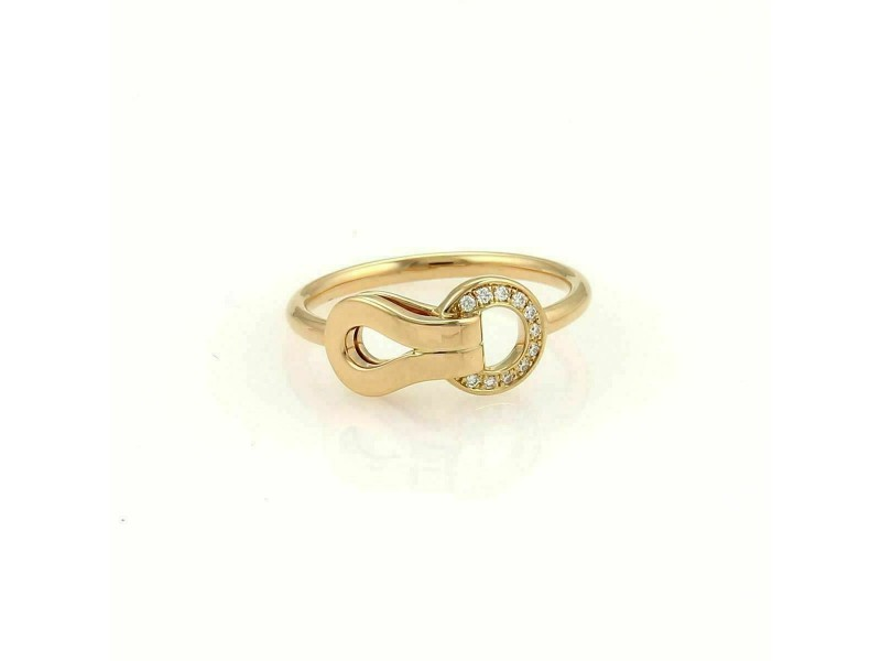 Cartier Agrafe Diamonds 18k Rose Gold Ring Size 47 w/Paper