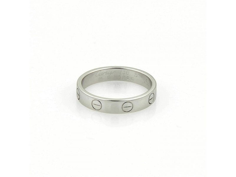 Cartier Mini Love 18k White Gold 3.5mm Wide Band Ring Size 51