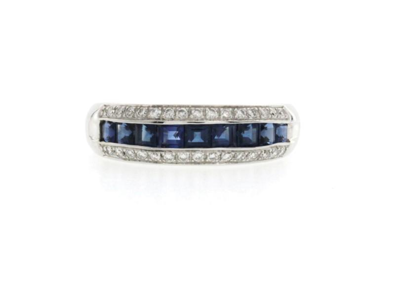 1.14 CT Sapphires & 0.30 CT Diamonds 18K White Gold Wedding Band Ring Size 6-8