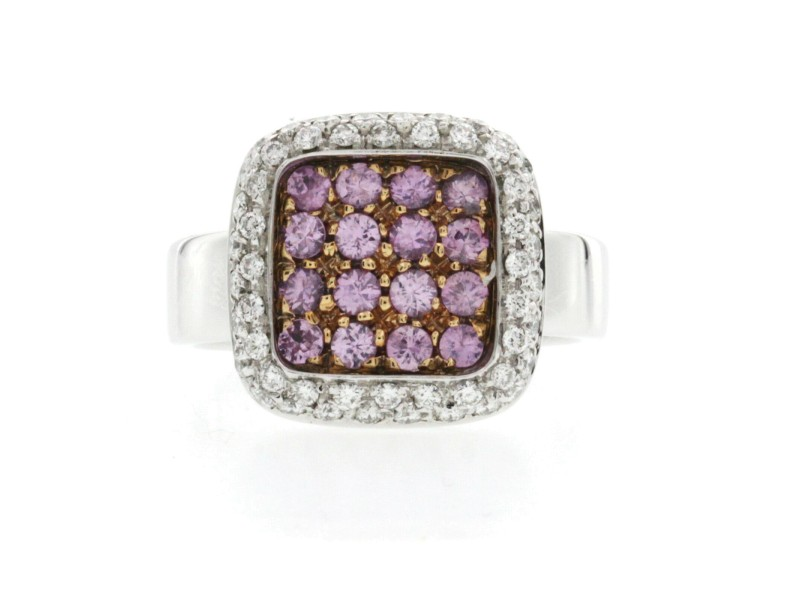 Fancy 0.90 CT Pink Sapphire & 0.84 CT Diamonds 18K Gold Band Ring Size 6-8