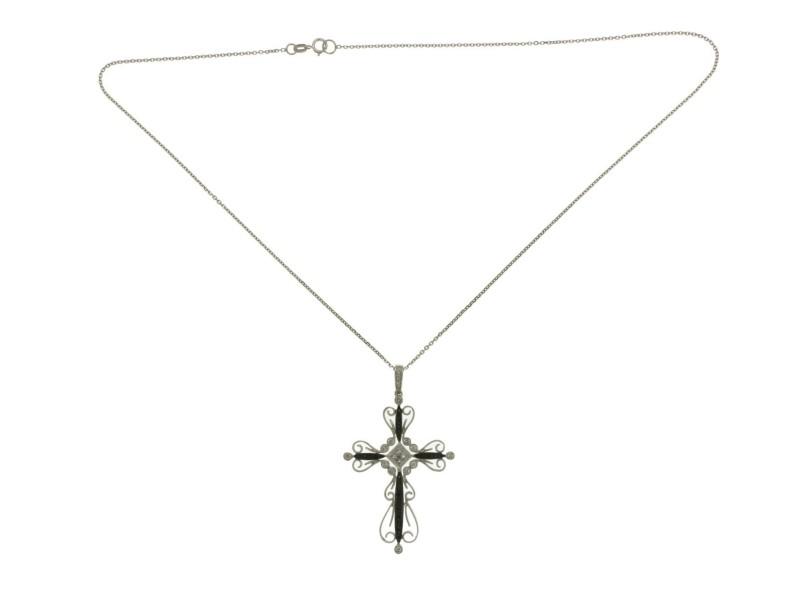 "Fancy 0.49 CT Diamonds 14K White Gold Cross Pendant Necklace Size 16""»NP12"
