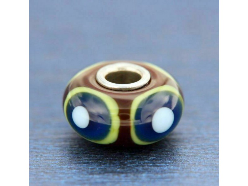 ¦AUTHENTIC TROLLBEADS Green & Blue Eye Bead glass BEAD