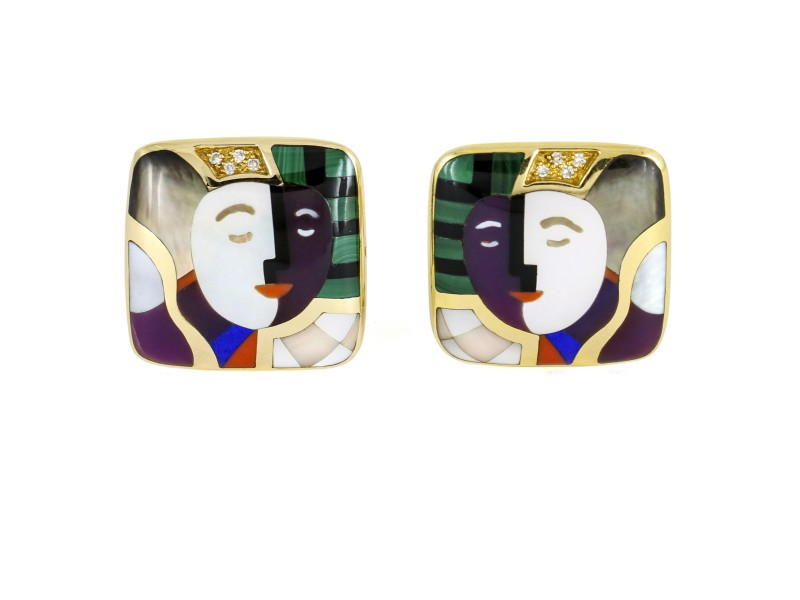 Asch Grossbardt Picasso Gemstone Inlay Square Clip-On Earrings