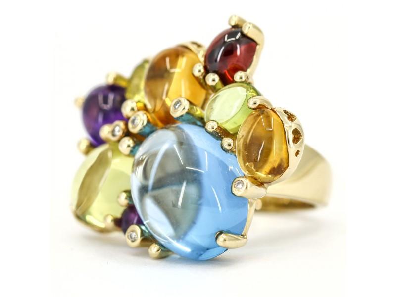 Multi-Gemstone and Diamond Statement Ring in 14k Yellow Gold