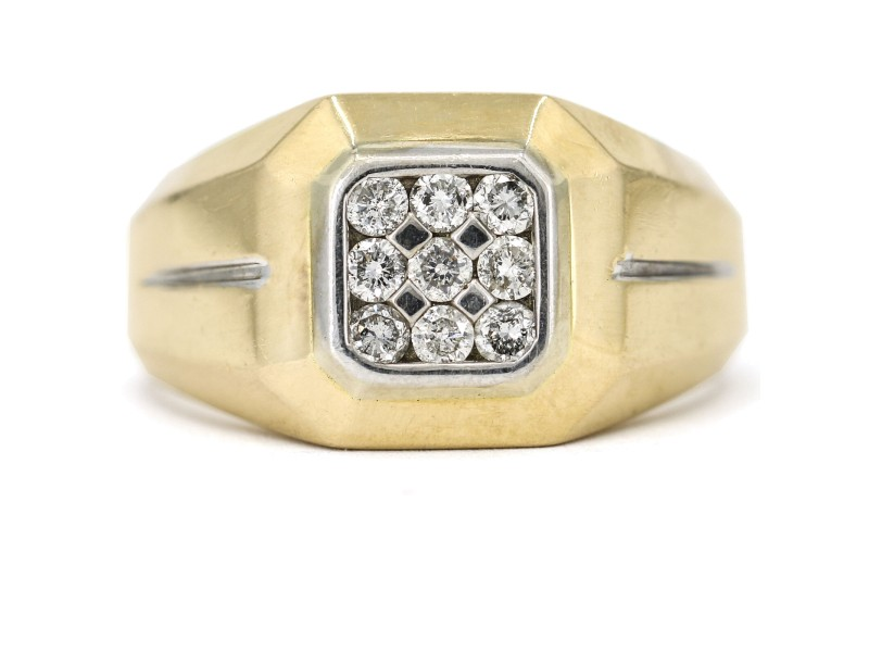 Men's .50 Carat Diamond Signet Ring in 14k Yellow Gold