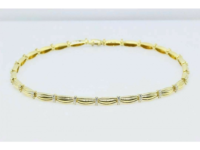 Tiffany & Co 1992 Diamond Station Necklace 18K Yellow Gold Signature II 4.00 tcw
