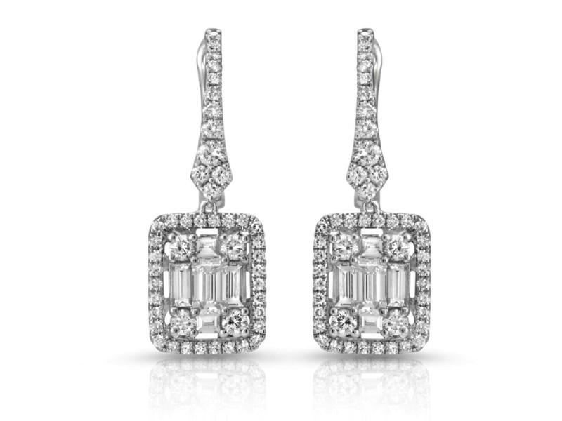 Fine 18K White Gold 1.77 Ct Natural Diamonds 26mm Dangle Earrings