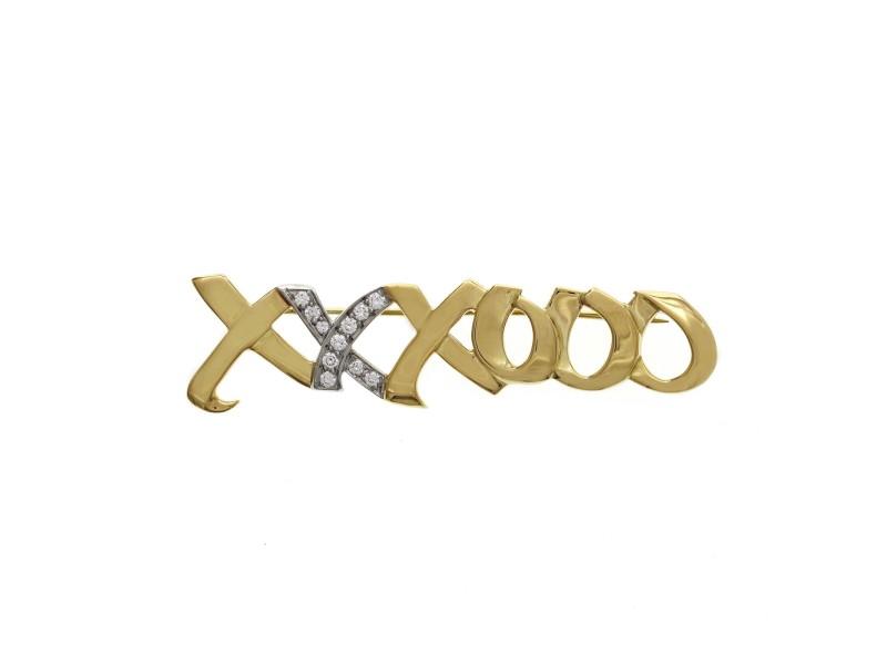 Tiffany & Co. 18K Yellow Gold and Diamond Paloma Picasso XXXOOO Pin Brooch »U23