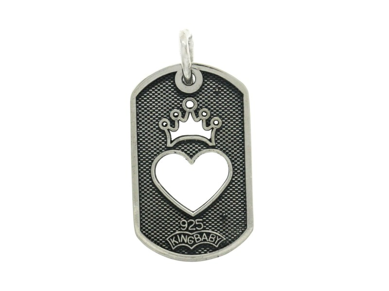 Auth King Baby 925 Sterling Silver Crown Heart Dog Tag Pendant