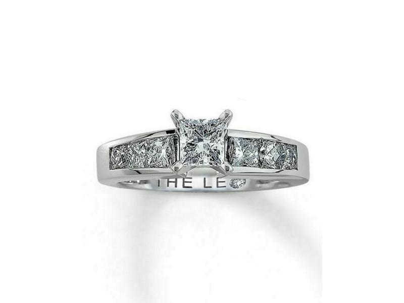 LEO Diamond Engagement Ring Princess Cut 1.52 tcw I VS1 14k White Gold and Plat