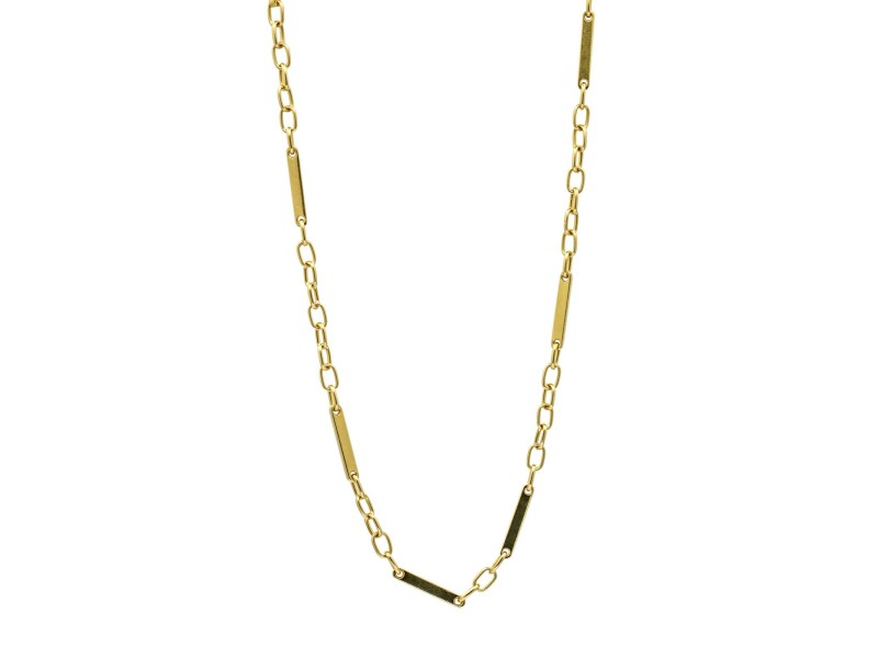 """Pomellato Bar and Open Link Chain in 18k Yellow Gold  22"""""""