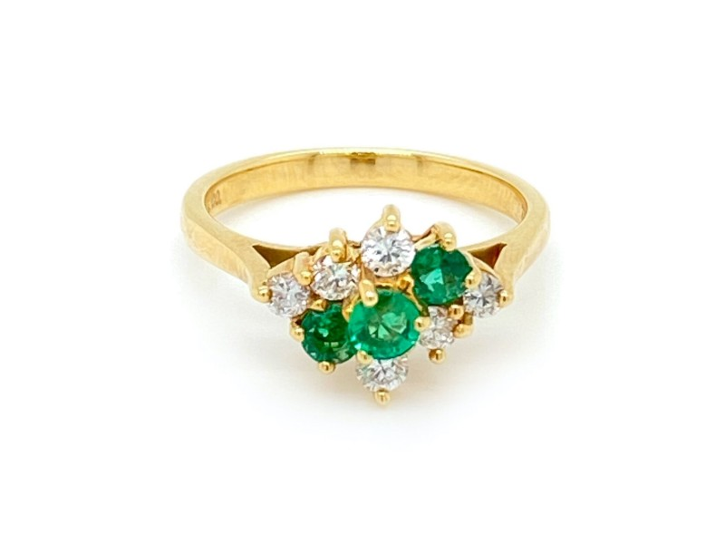 Tiffany & Co. Diamond Emerald 18k Yellow Gold Cocktail Ring
