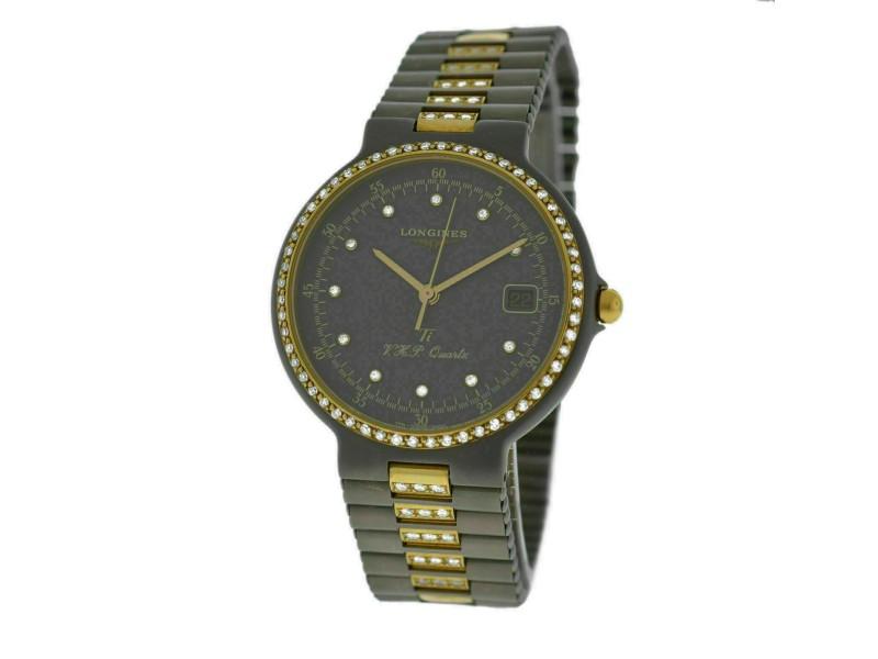 New Unisex Longines Conquest Ti VHP Titanium Gold Diamond Quartz 33mm Watch