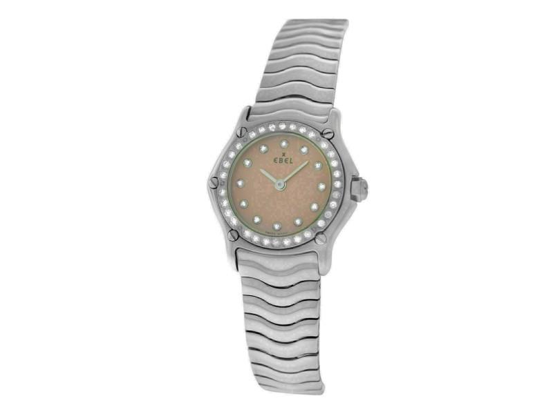Ladies Ebel Sport Wave 9157115 Steel Diamond 23MM Quartz Watch