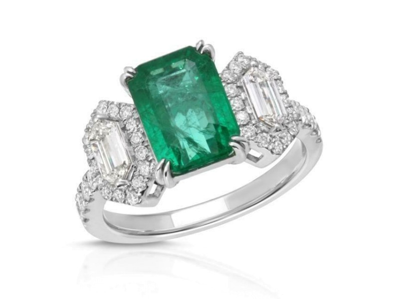 2.15 CT Zambian Emerald & 0.73 CT Diamonds in 14K White Gold Engagement Ring
