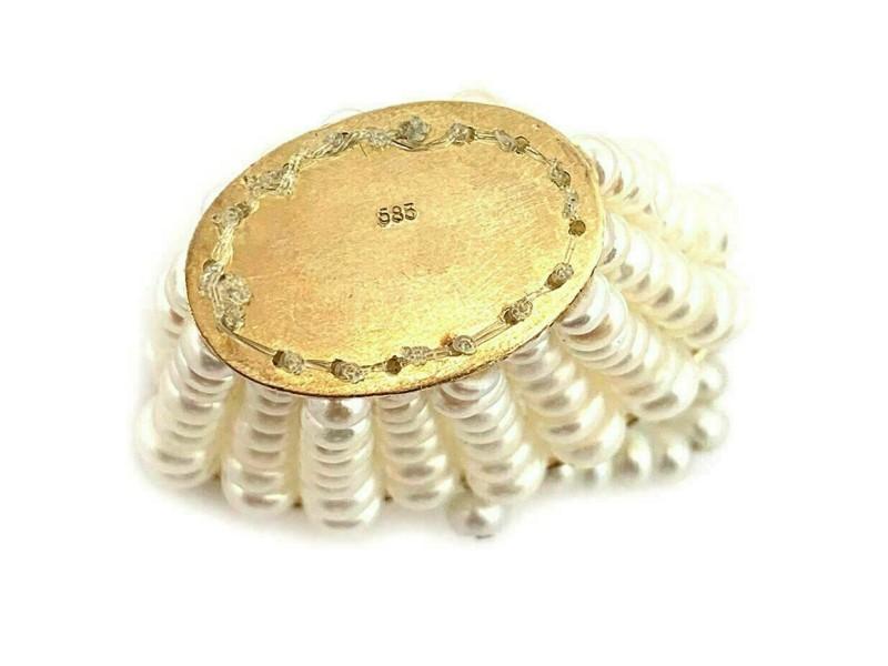 Estate Pearl Basket Pendant in 14k Yellow Gold