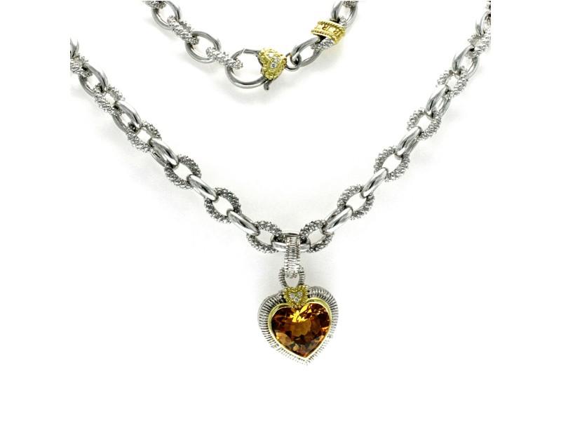 "Judith Ripka 925 Silver 18K Gold Diamond Citrine Heart Pendant Necklace Size 16"""