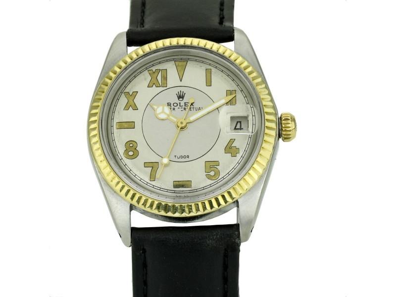 Rolex Tudor Auto Prince 1940s California Dial Watch 18k Gold Stainless Steel