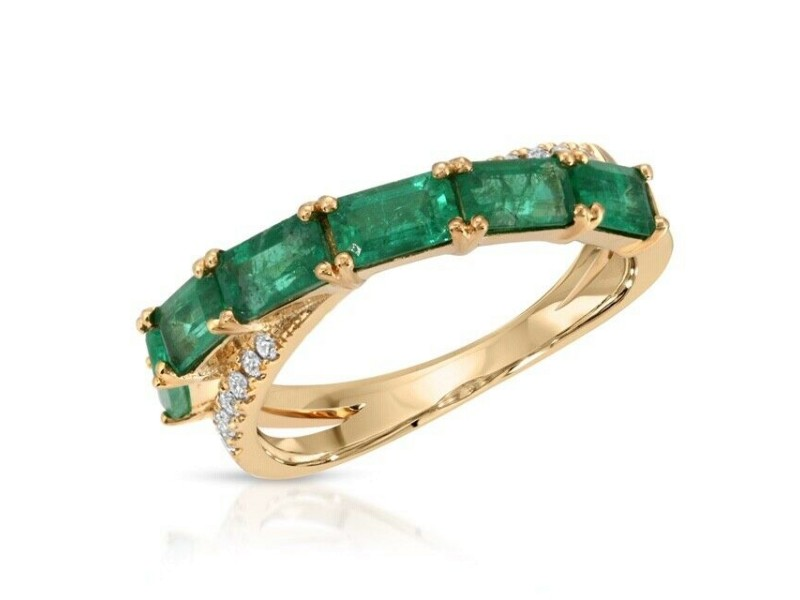 1.76 CT Colombian Emerald & 0.12 CT Diamonds in 14K Yellow Gold Band Ring