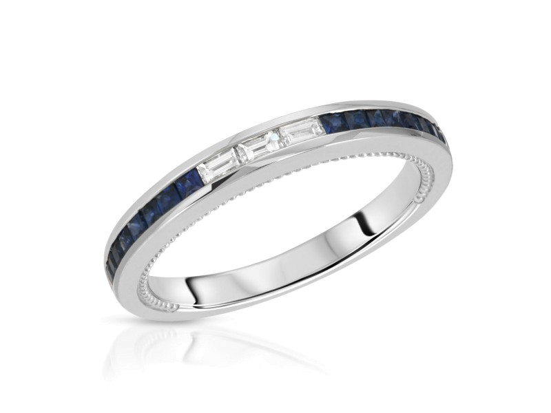 0.49 CT Blue Sapphire & 0.15 CT Diamonds in 18K White Gold Band Ring