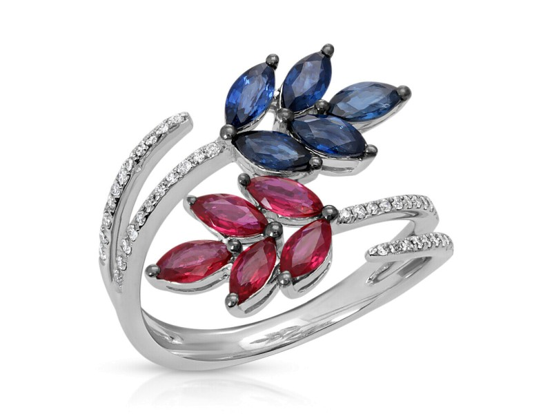 1.89 CT Sapphire & Ruby 0.25 CT Diamonds in 18K White Gold Leaf Cluster Ring