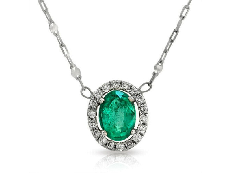 """0.69 CT Colombian Emerald 0.18 CT Diamonds 18K White Gold Necklace Size 18"""""""