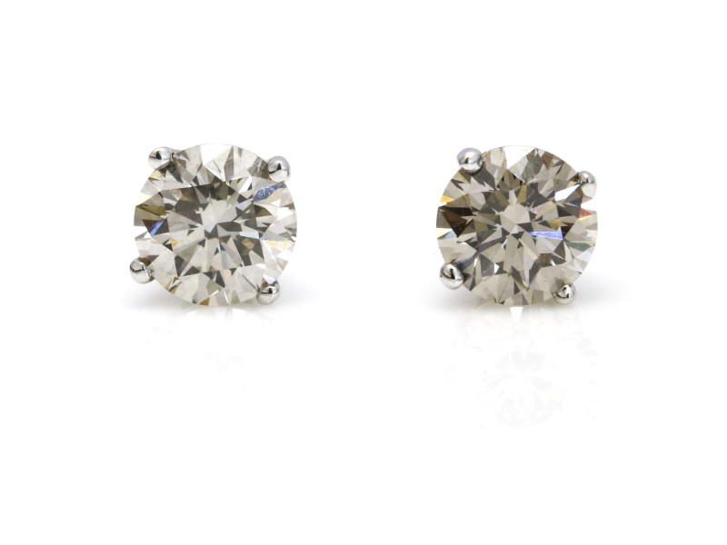 Diamond Stud Earrings in 14k White Gold ( 2.25 ct tw )