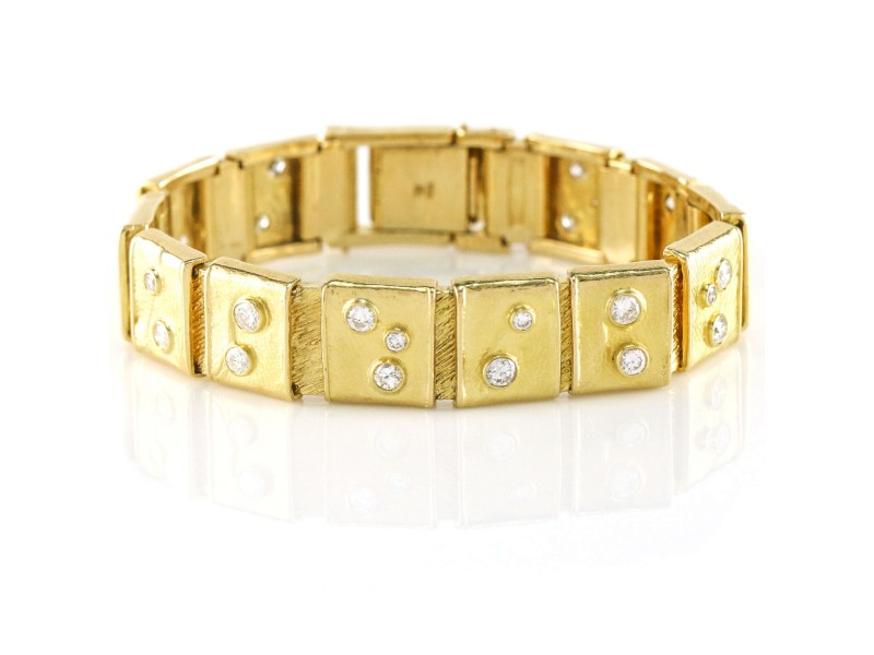 Women's Diamond Square Link Bracelet Heavy 18k Yellow Gold (2.50 ct t.w.)