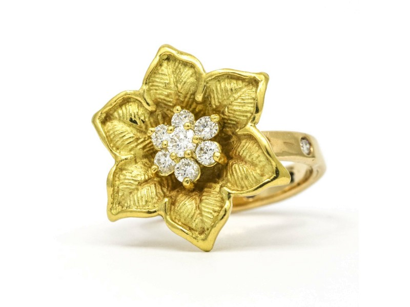 Six Petal Flower Diamond Cluster Ring in Yellow Gold ( .75 ct tw )