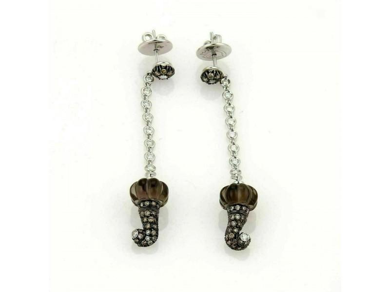 Diamond Gemstone & Quartz 18k White Gold Dangle Earrings