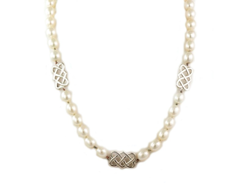 Tiffany & Co. Sterling Silver Lattice Link Oval Pearls Necklace