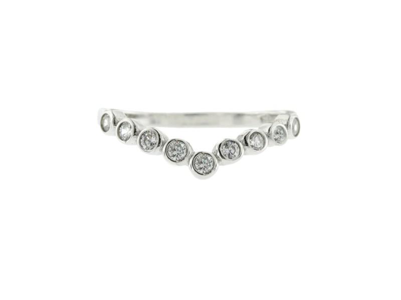 Women's 925 Sterling Silver Cubic Zirconia V Chevron Wedding Band Ring