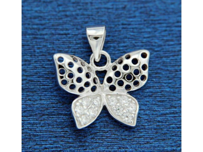 ▌925 Sterling Silver Pave White CZ Butterfly Pendant »P77