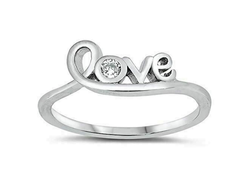 Girls 925 Sterling Silver Cubic Zirconia Love in Script Band Ring Size 4-12