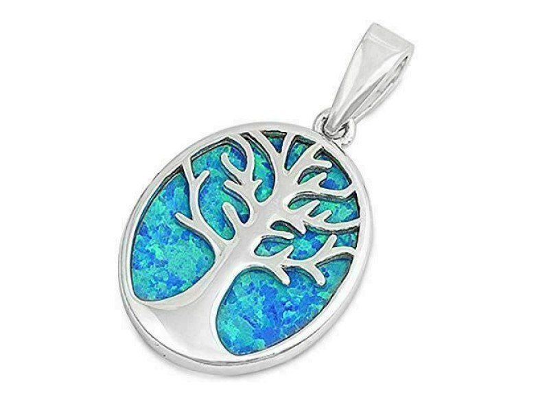 Girls 925 Sterling Silver Lab Created Blue Opal Oval Tree of Life Pendant