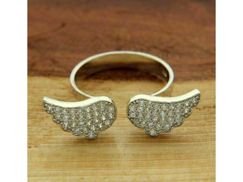 ¦ANGEL WING 925 Solid Sterling Silver Pave CZ Ring »45 Adjustable Size 6 to 8