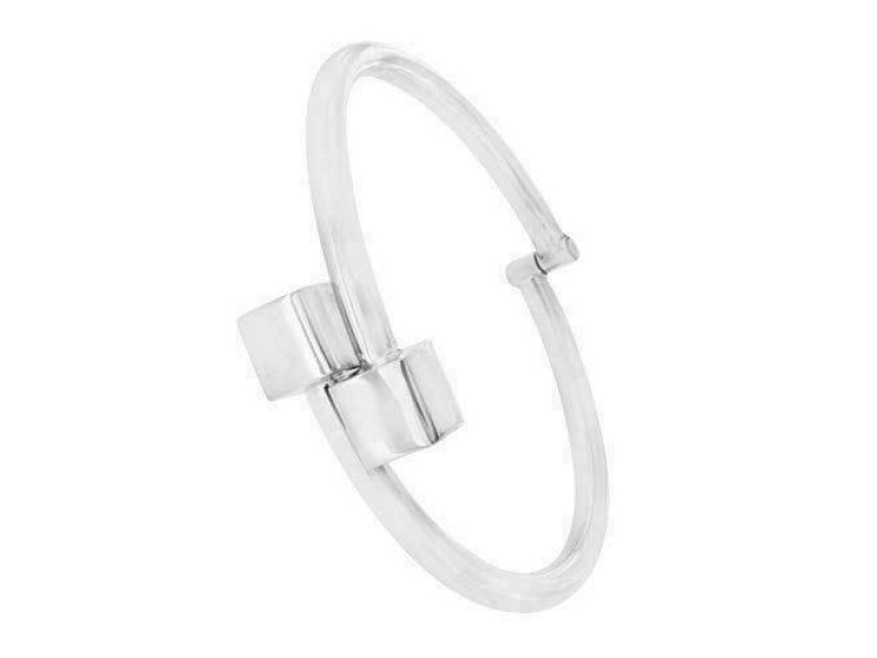 "Women's 925 Sterling Silver Twisted Cube Bangle Bracelet Adjustable 6.5"" - 8"""