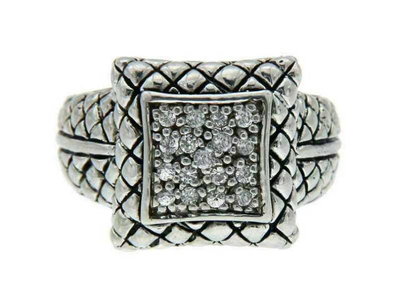 Solid Sterling Silver CZ Bali Ring»R113