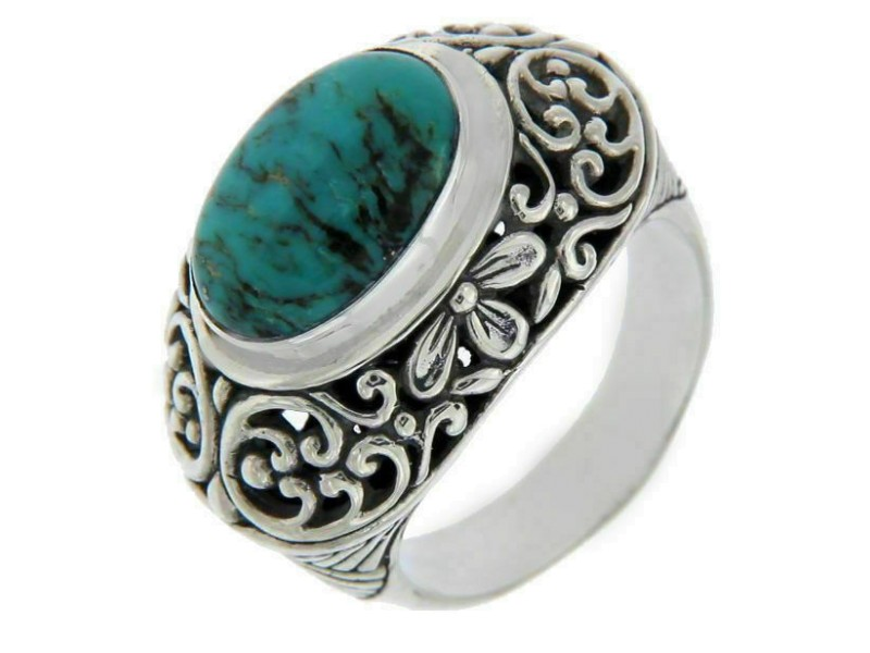 Solid Sterling Silver Lab Turquoise Dome Cluster Ring » R120