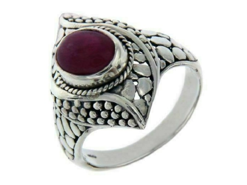 Solid 925 Sterling Silver Ruby Pebble Bali Dots Ring Size 9.5 » R319
