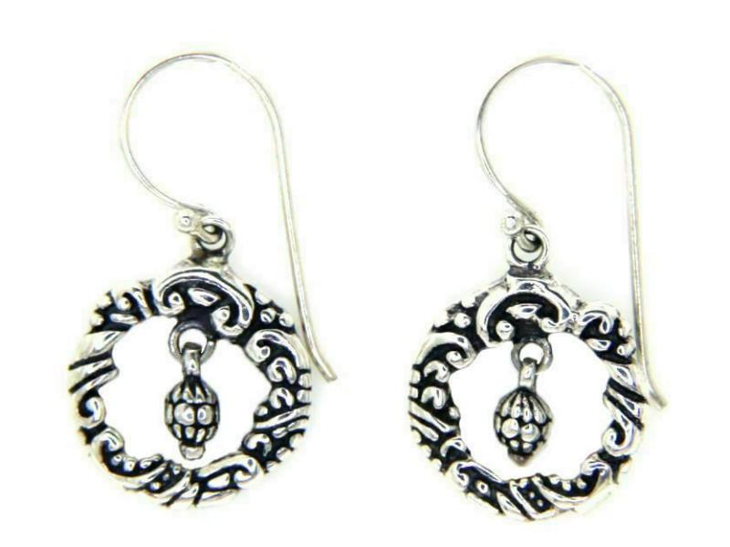 925 Sterling Silver Tow Side Art Bali Hoop Dangle Earring » E25