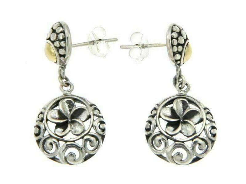 925 Sterling silver and 14 k Gold Handmade Bali Flower Dangle Earring»E213