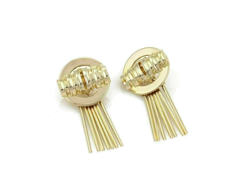 Retro 14k Yellow Gold Multi Dangling Sticks Fancy Post Clip Earrings