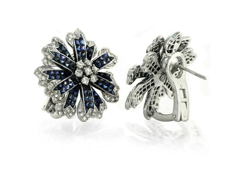 18K Gold Diamonds & Invisible Set 14.28 CT Blue Sapphire Flower Earrings »BL2560