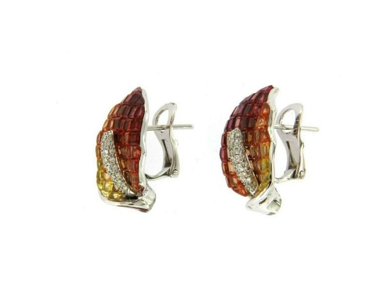 18K Gold 0.09 CT Diamonds & Invisible Set 12.6 CT Orange Sapphire Earring »E3237