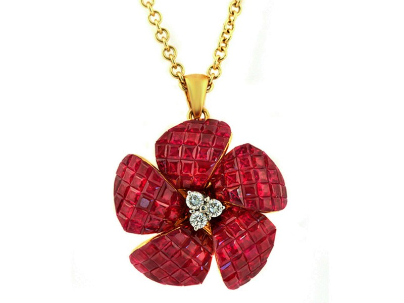 """14K Yellow Gold 0.16 CT Diamonds 10.54 CT Invisible Set Ruby Necklace 16"""" »N2957"""